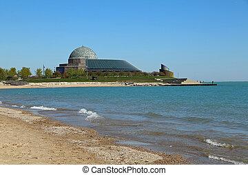 Adler Planetarium and beautiful Lake Michican, in Chicago