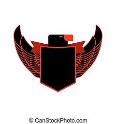 adler, und, schutzschirm, ritterwappen, emblem., schwarz, falke, mit, flügeln, logo