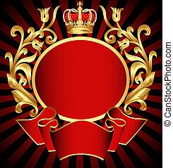 adlig, hintergrund, mit, gold(en), muster, und, krone
