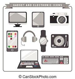 adminículo, electrónico, ilustración, colección