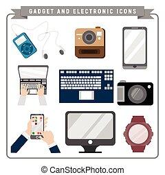 adminículo, electrónico, ilustración, paquete