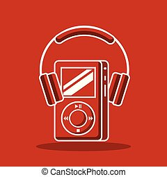 adminículo, mp4, y, audífonos, dispositivo, tecnología, moderno
