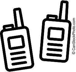 adminículo, vector, walkie, icono, talkie, ilustración, contorno