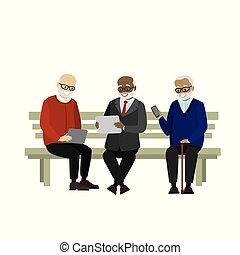 adminículos, abuelos, banco, elegante, sentado