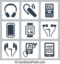 adminículos, auriculares, auriculares, iconos, ebook, jugador, radio, reloj, vector, set:, dictáfono, lector, smartphone, elegante, mp3