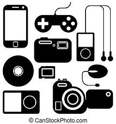 adminículos, conjunto, electrónico, icono