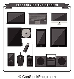 adminículos, electrónico, paquete