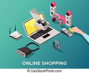 adminículos, isométrico, concepto, ir de compras en línea directa