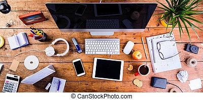 adminículos, oficina, supplies., vario, plano, colocar, escritorio