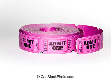 Admin one ticket - A roll of admit one tickets on a white ...