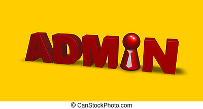 admin token - red token with tie inthe word admin - 3d...
