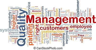 administración calidad, plano de fondo, concepto