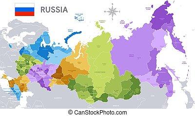 administracyjny, mapa, od, rosyjska federacja