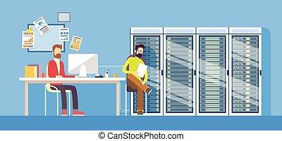 administrador, gente, trabajando, datos, hosting, sentado, centro, hombre, escritorio, trabajador, técnico