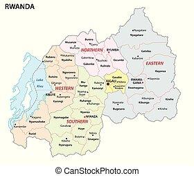 administratif, carte, rwanda, république, état, africaine