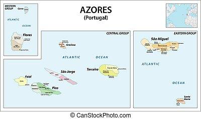 administratif, vecteur, açores, portugal, archipel, ...