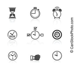 administration du temps, ensemble, horloge, icônes