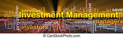 administration, glödande, begrepp, investering, bakgrund