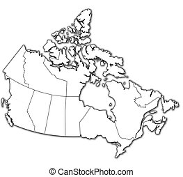 administration map of canada with flags of administrative...