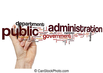 administration, mot, public, nuage