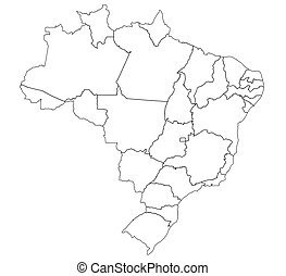 Administration on map of brazil States and regions on stock