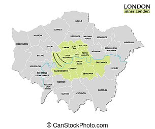 Administrative and political map of London, Statutory...