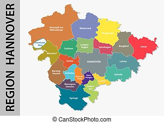 Administrative and political map of Region Hannover in...