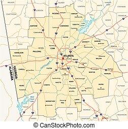 administrative and political road map of the Atlanta metropolitan area ??georgia