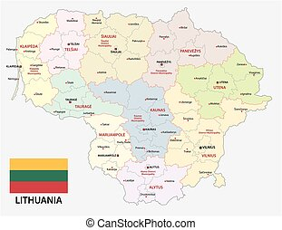 Administrative and political vector map of the Baltic republic of Lithuania with flag