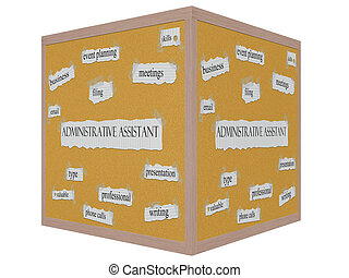 Administrative Assistant 3D cube Corkboard Word Concept