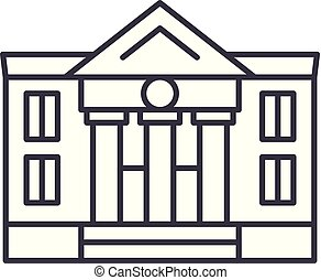 Administrative building line icon concept. Administrative building vector linear illustration, symbol, sign