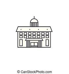 Administrative building thin line icon concept. Administrative building linear vector sign, symbol, illustration.