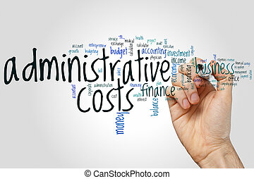 Administrative costs word cloud concept on grey background