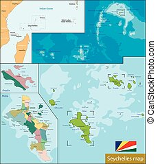 Seychelles political map with capital victoria important vector
