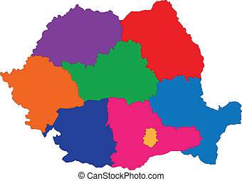 Romania map - Administrative division of the Romania map