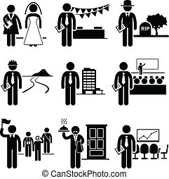 A set of people pictogram representing job profession in the industry of administrative management services. They are wedding planner, event planner, undertaker, town planner, property manager, conference, tour guide, butler, and meeting organizer.