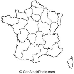 administrative map of france - map of france with...