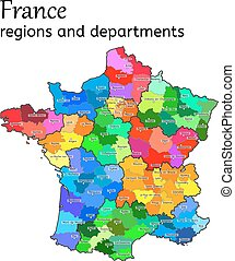 Administrative map of France with regions and departments on...