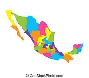 Administrative map of Mexico in vector