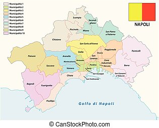 Administrative map of the Campanian capital Naples with flag Italy