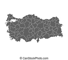 Administrative map of Turkey in vector