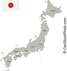 Administrative vector map of Japan