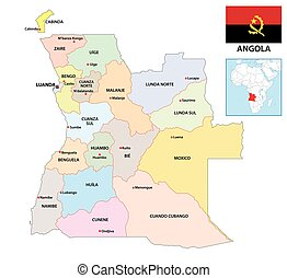 administrative vector map of Republic of Angola with flag