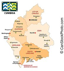 administrative vector map of the english county cumbria with flag