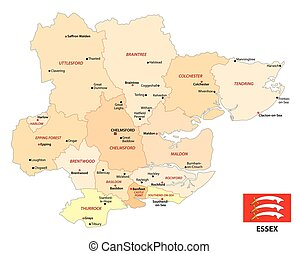 administrative vector map of the english county essex with flag