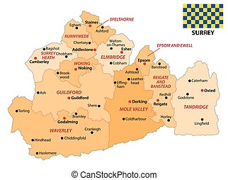 administrative vector map of the english county surrey with flag