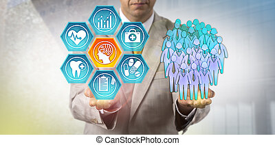 Unrecognizable healthcare administrator reviewing health outcomes of a human group via an AI application. Healthcare technology concept for the use of artificial intelligence in population health.