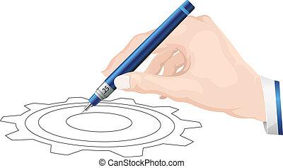 administre, -, desenho, ilustração