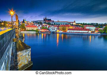 Admirable medieval stone Charles bridge at sunrise, Prague, Czech Republic