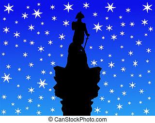 Admiral Nelson statue in winter